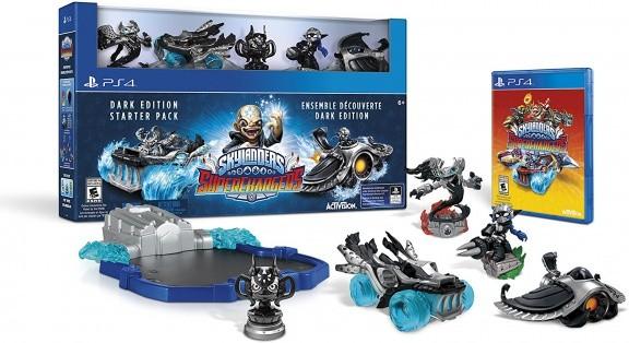 Skylanders SuperChargers: Стартовый набор (Dark Edition): игра, игровой портал, фигурки: Spitfire, Stealth Elf, Hot Streak (PS4)