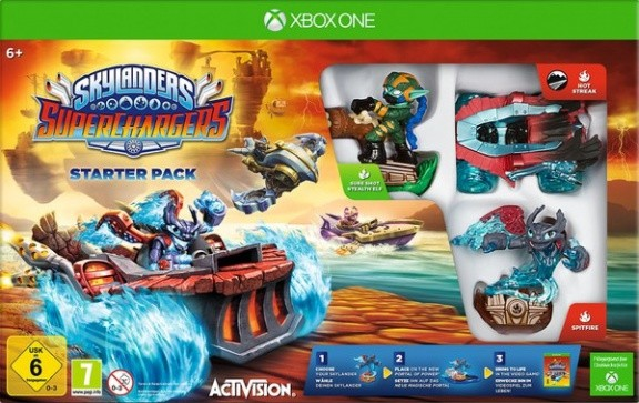 Skylanders SuperChargers: Стартовый набор игра, игровой портал, фигурки: Spitfire, Stealth Elf, Hot Streak (Xbox One)