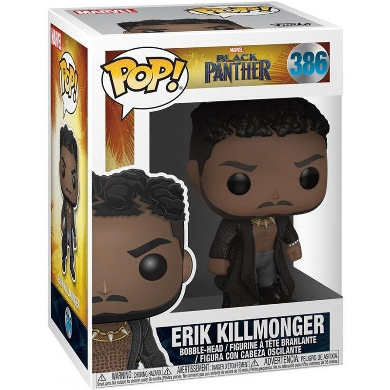 Фигурка Funko POP! Bobble: Эрик Киллмонгер (Killmonger) Чёрная Пантера (Black Panther) (33153) 9,5 см