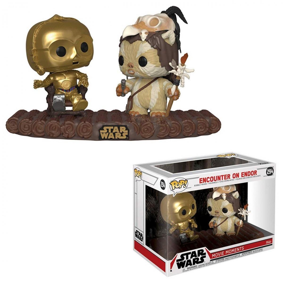Фигурка Funko POP! Vinyl: Звёздные Войны (Star Wars): Си-Три-Пи-О и вождь эвоков Логрей муви момент (Movie Moment: C-3PO on Throne) (37593) 9,5 см
