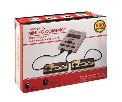 Игровая приставка 8 bit Mini FC Compact HDMI (600 в 1) + 600 встроенных игр + 2 геймпада (Серая) 8 bit