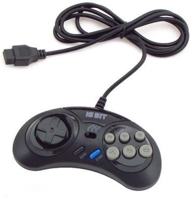 Геймпад проводной 16 bit MegaDrive Turbo Controller (Черный) узкий разъем 9 pin (16 bit)